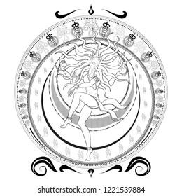 Indian Lord Shiva Nataraja dancing tandava in a circle of fire vector illustration lineart