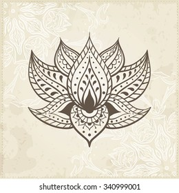 Indian Lotus. Arabic and Jewish amulet. Vector Illustration.