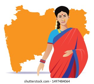 indian - maharashtian woman with Maharashtra map