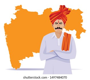 indian - maharastrian man with maharastra map