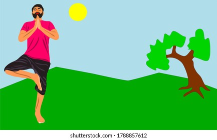 an indian male with beard cartoon doing yoga around natural sunny day colorful environment with tree and sky.