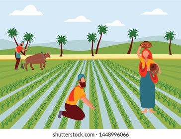 Indian male and female farmers working in paddy field flat cartoon style, vector illustration on landscape background. Man plowing agricultural land with buffalo, woman with clay pots