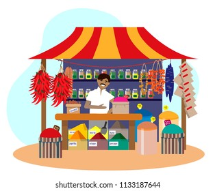 Indian man selling spices in street shop. Trade fair stall. Chili pepper, dries fruits, cinnamon. Flat vector illustration.