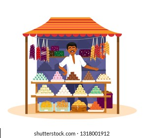 Indian man selling  traditional sweets. Vector illustration of Asian street sweets shop with seller in flat cartoon style. Isolated on white.