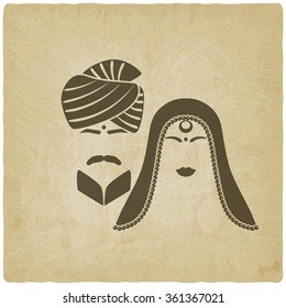 Indian man and woman in traditional clothes. old background. vector illustration - eps 10