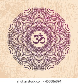 Indian mandala with the Om symbol in the centre. Vector illustration. Good for mehndi tattoo or for ayurveda project design.