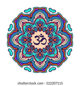 Indian mandala with the Om symbol in the centre. Vector illustration. Good for mehndi tattoo or for ayurveda project design. Zentangle graphic