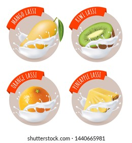 Indian mango lassi stickers. Vector labels with mango, pineapple, kiwi and orange lassi. Fruits and milk splashes. Traditional indian yoghurt drink.