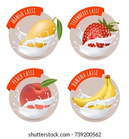 Indian mango lassi stickers. Vector labels with mango, banana, peach and strawberry lassi. Fruits and milk splashes. Traditional indian yoghurt drink.
