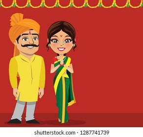 An Indian marathi couple from the state of Maharashtra or also called Maharashtrian. The woman is wearing a traditional nine yard saree or 'nauvari saree' and standing in namaste pose.