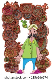 Indian market. Stall full of clay handmade ornate pottery: plates, jugs and utensils. Moustached vendor in turban stands in front of it. Caricature. Cartoon.