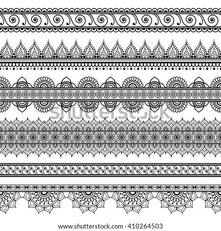 Indian Mehndi Henna Set Six Line Stock Vector Royalty Free