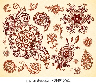 Indian mehndi tattoo style vector floral ornaments set
