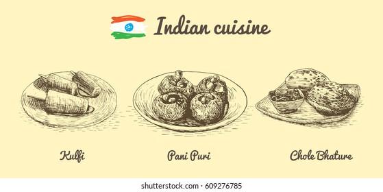Indian menu monochrome illustration. Vector illustration of Indian cuisine.