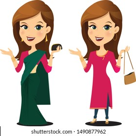 Indian Modern Woman with different clothing