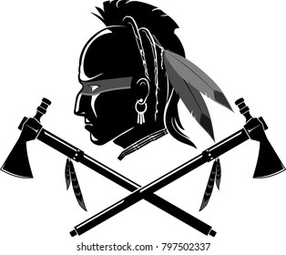 Indian Mohawk and Crossed Tomahawk