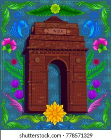Indian monument india gate with indian style design and floral pattern