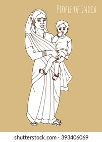 Indian mother with child hand drawn line art illustration