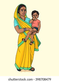 Indian mother with child hand drawn colorful illustration