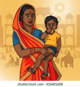 Indian mother and child poster