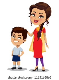An Indian mother wearing an Indian outfit - Salwar Kameez is standing next to her little son who is wearing a school uniform.