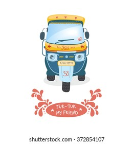 Indian motor rickshaw car. Indian tuk tuk vector illustration