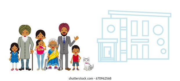 Indian multi-Generation family with the residence