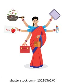 Indian Multitasking woman balancing life with multiple hands vector illustration