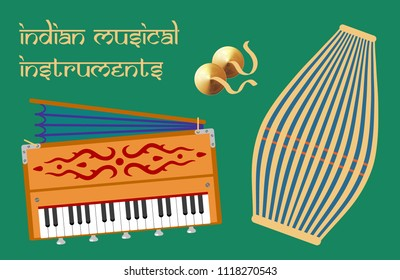 Indian musical instruments for kirtan. Vector illustration