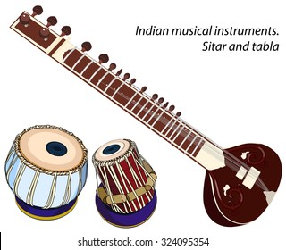 indian musical instruments - sitar and tabla. Vector isolated objects