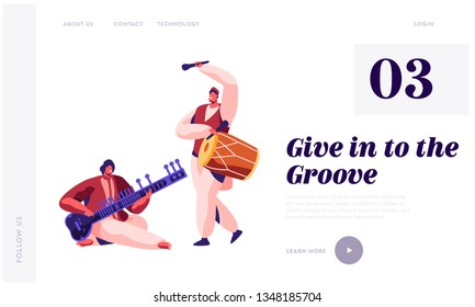 Indian Musician Playing Classical Musical Instrument Dhol and Sitar at Concert Landing Page. Performer Play Drum at Instrumental Musical Show Website or Web Page. Flat Cartoon Vector Illustration