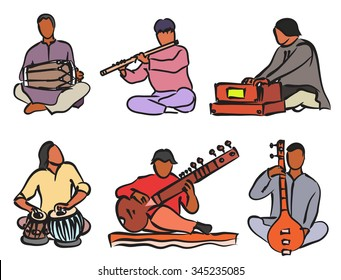 Indian musician playing traditional musical instruments. Vector isolated set