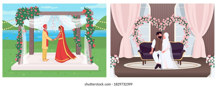 Indian and muslim wedding flat color vector illustration set. Religious ceremony for marriage. Bride and groom 2D cartoon characters with landscape and interior on background collection