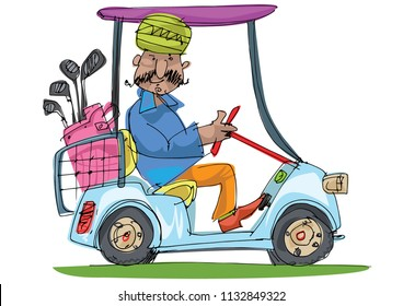 An indian mustached golf player dressed in traditional clothes drives a golf car.