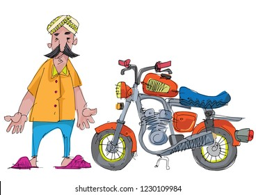 An indian mustached man rides little cute old motorbike. Cartoon. Caricature.