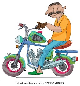 An indian mustached man rides a little cute old motorbike. Cartoon. Caricature.