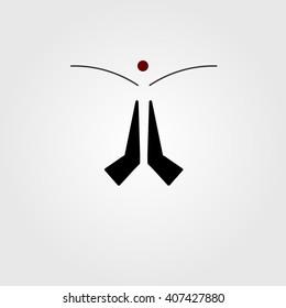 Indian namaste. greeting flat icon. vector illustration.