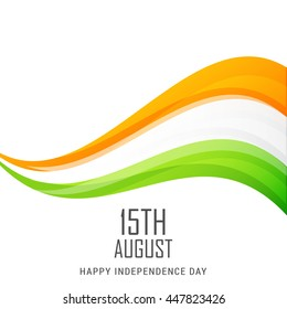 Indian National Flag colour wave background for Independence Day.