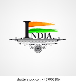 Indian National Tri Color Flag with Creative Grung, Stylish text and Vintage Floral Frame on the occassion of Independence Day.