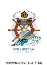 Indian navy day poster, banner. Indian national celebration.