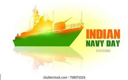 Indian navy day poster, banner. Indian national celebration. Vector illustration.