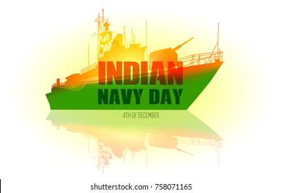 Indian navy day poster, banner. Indian national celebration. Vector illustration.