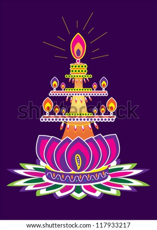 Indian Oil Lamp Set (Indian New Year Festival Element)