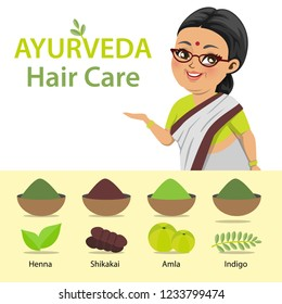 An Indian old lady wearing a saree has prepared herbal powders from various herbs like - henna (mehndi), shikakai (Acacia concinna), gooseberry (amla) and Indigo (Indigoferra)