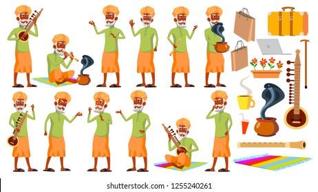 Indian Old Man Poses Set Vector. Hindu. Asian. Elderly People. Senior Person. Aged. Snake Cobra Dance. Presentation, Invitation, Card Design. Isolated Cartoon Illustration