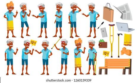 Indian Old Man Poses Set Vector. Elderly People. Hindu. Asian. Senior Person. Aged. Cheerful Grandparent. Presentation, Invitation, Card Design. Isolated Cartoon Illustration