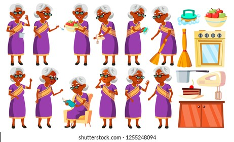 Indian Old Woman In Sari Poses Set Vector. Elderly People. Hindu. Asian. Senior Person. Aged. Cheerful Grandparent. Presentation, Invitation, Card Design. Isolated Cartoon Illustration