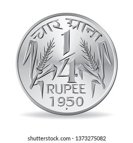Indian one quarter rupee coin 1950 in vector illustration