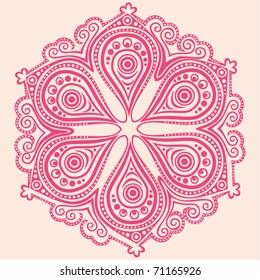 Indian ornament, kaleidoscopic floral pattern, mandala in pink