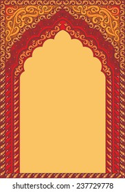 Indian ornamented arch. Color red.